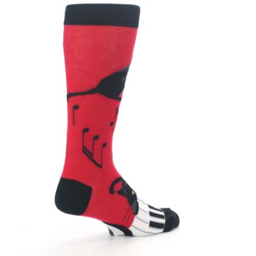 Image of Red Black Piano Cat Men's Dress Socks (side-1-back-22)