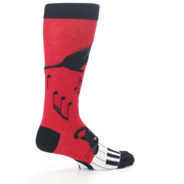 Image of Red Black Piano Cat Men's Dress Socks (side-1-23)