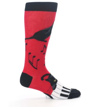 Image of Red Black Piano Cat Men's Dress Socks (side-1-24)