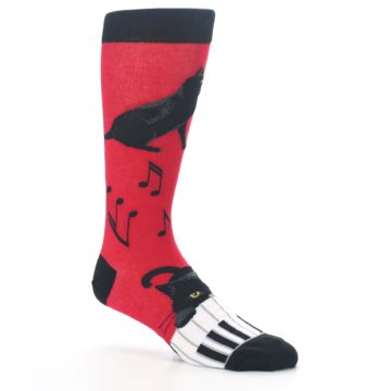 Image of Red Black Piano Cat Men's Dress Socks (side-1-26)
