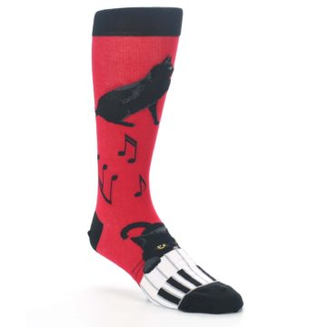 Image of Red Black Piano Cat Men's Dress Socks (side-1-27)