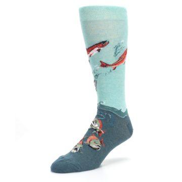 Image of Sea Green Sockeye Salmon Fish Men's Dress Socks (side-2-front-08)
