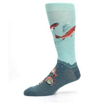 Image of Sea Green Sockeye Salmon Fish Men's Dress Socks (side-2-10)
