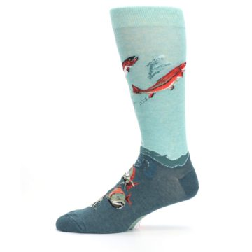 Image of Sea Green Sockeye Salmon Fish Men's Dress Socks (side-2-11)