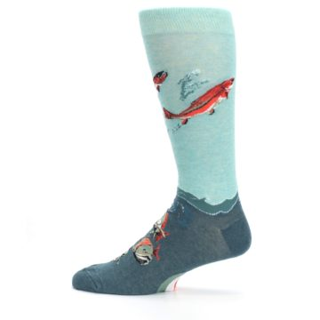 Image of Sea Green Sockeye Salmon Fish Men's Dress Socks (side-2-12)