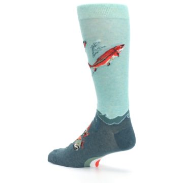 Image of Sea Green Sockeye Salmon Fish Men's Dress Socks (side-2-back-14)