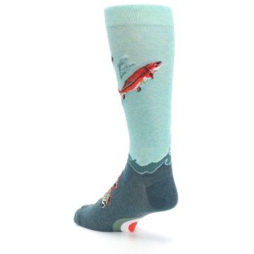 Image of Sea Green Sockeye Salmon Fish Men's Dress Socks (side-2-back-15)
