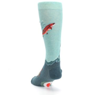 Image of Sea Green Sockeye Salmon Fish Men's Dress Socks (side-2-back-16)