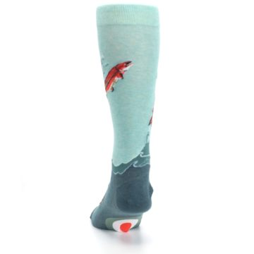 Image of Sea Green Sockeye Salmon Fish Men's Dress Socks (back-17)