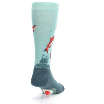 Image of Sea Green Sockeye Salmon Fish Men's Dress Socks (side-1-back-20)