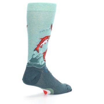Image of Sea Green Sockeye Salmon Fish Men's Dress Socks (side-1-back-22)