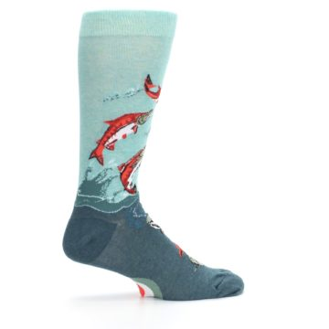 Image of Sea Green Sockeye Salmon Fish Men's Dress Socks (side-1-24)