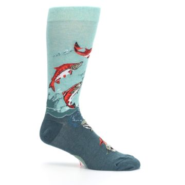 Image of Sea Green Sockeye Salmon Fish Men's Dress Socks (side-1-25)