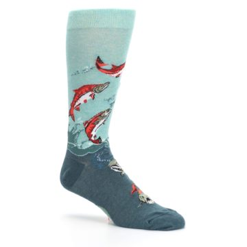Image of Sea Green Sockeye Salmon Fish Men's Dress Socks (side-1-26)