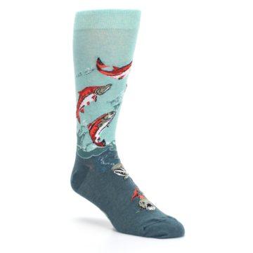 Image of Sea Green Sockeye Salmon Fish Men's Dress Socks (side-1-27)