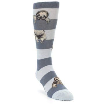 Image of Gray Sloth Stripe Men's Dress Socks (side-1-front-02)
