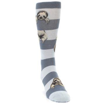 Image of Gray Sloth Stripe Men's Dress Socks (side-1-front-03)