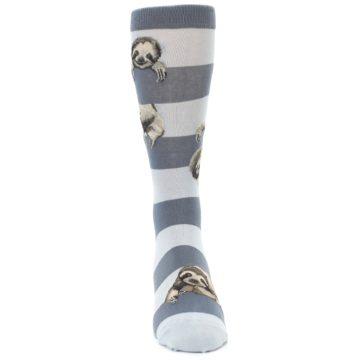 Image of Gray Sloth Stripe Men's Dress Socks (front-04)