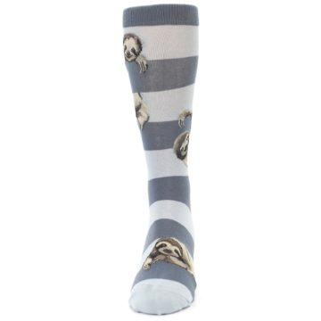 Image of Gray Sloth Stripe Men's Dress Socks (front-05)