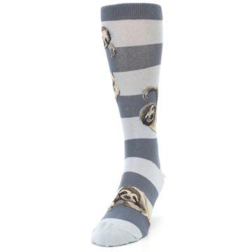 Image of Gray Sloth Stripe Men's Dress Socks (side-2-front-06)