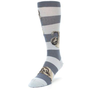 Image of Gray Sloth Stripe Men's Dress Socks (side-2-front-07)