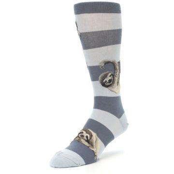 Image of Gray Sloth Stripe Men's Dress Socks (side-2-front-08)