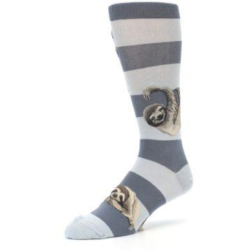 Image of Gray Sloth Stripe Men's Dress Socks (side-2-09)