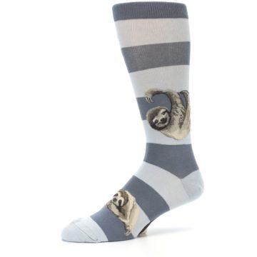 Image of Gray Sloth Stripe Men's Dress Socks (side-2-10)