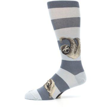 Image of Gray Sloth Stripe Men's Dress Socks (side-2-11)
