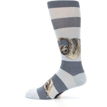 Image of Gray Sloth Stripe Men's Dress Socks (side-2-12)