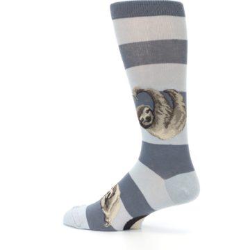 Image of Gray Sloth Stripe Men's Dress Socks (side-2-13)