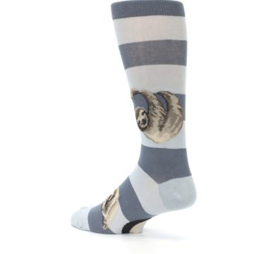 Image of Gray Sloth Stripe Men's Dress Socks (side-2-back-14)