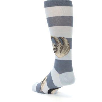 Image of Gray Sloth Stripe Men's Dress Socks (side-2-back-15)