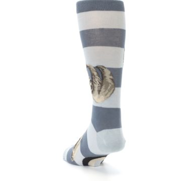 Image of Gray Sloth Stripe Men's Dress Socks (side-2-back-16)