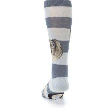 Image of Gray Sloth Stripe Men's Dress Socks (back-17)