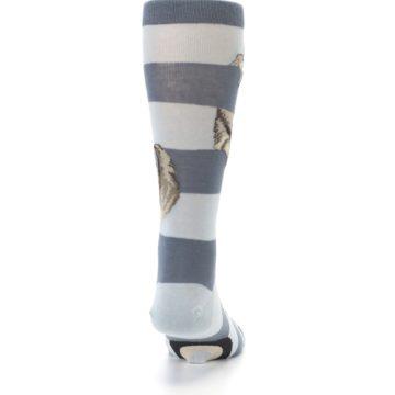 Image of Gray Sloth Stripe Men's Dress Socks (back-19)