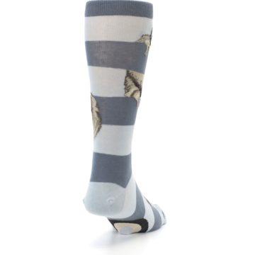 Image of Gray Sloth Stripe Men's Dress Socks (side-1-back-20)