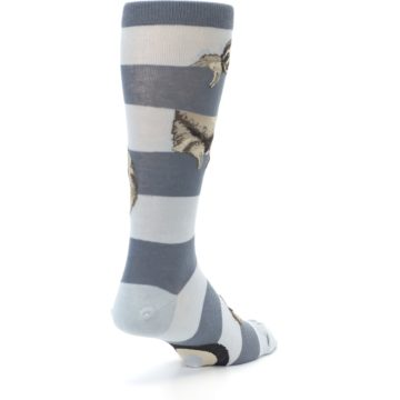 Image of Gray Sloth Stripe Men's Dress Socks (side-1-back-21)