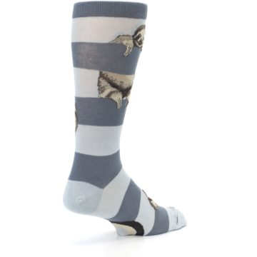Image of Gray Sloth Stripe Men's Dress Socks (side-1-back-22)