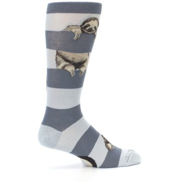 Image of Gray Sloth Stripe Men's Dress Socks (side-1-24)