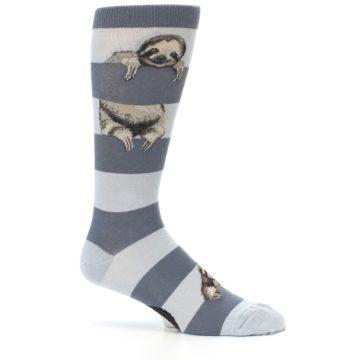 Image of Gray Sloth Stripe Men's Dress Socks (side-1-25)