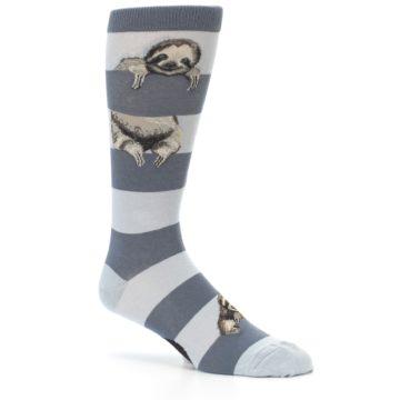 Image of Gray Sloth Stripe Men's Dress Socks (side-1-26)