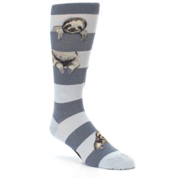 Image of Gray Sloth Stripe Men's Dress Socks (side-1-27)