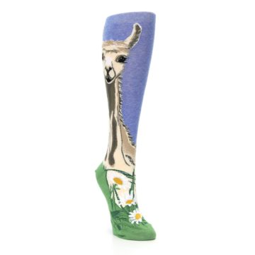 Image of Blue Green Lovely Llama Women's Knee High Socks (side-1-front-02)