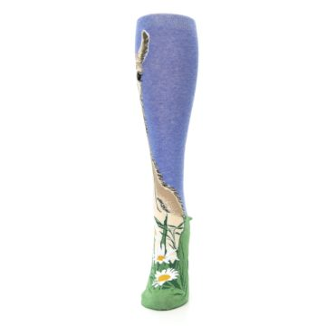 Image of Blue Green Lovely Llama Women's Knee High Socks (side-2-front-06)