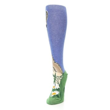 Image of Blue Green Lovely Llama Women's Knee High Socks (side-2-front-07)