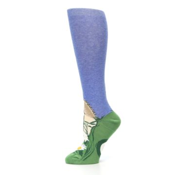 Image of Blue Green Lovely Llama Women's Knee High Socks (side-2-11)