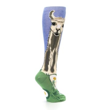 Image of Blue Green Lovely Llama Women's Knee High Socks (side-1-23)