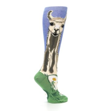 Image of Blue Green Lovely Llama Women's Knee High Socks (side-1-24)