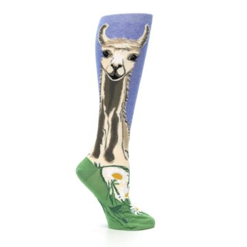 Image of Blue Green Lovely Llama Women's Knee High Socks (side-1-25)